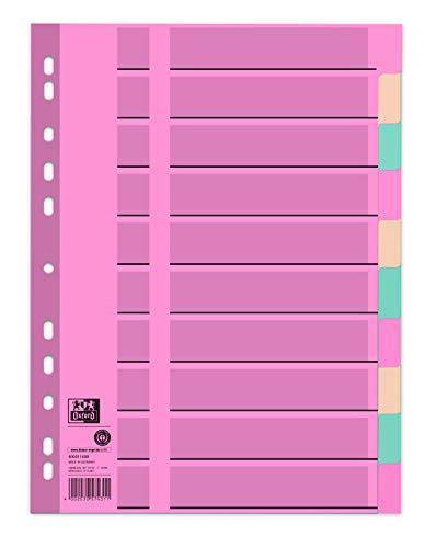 Oxford Karton-Register A4, blanko, 2 x 5 farben, vollfarbig, volle Höhe mit Organisationsdruck, 10-teilig