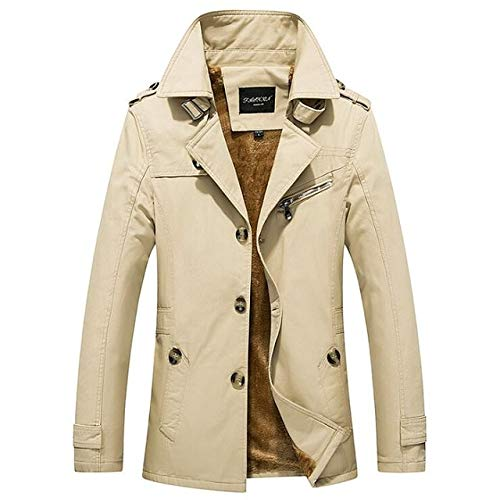 GYXYYF Heren Winterjas Plus Dikke Fluwelen Slank Single Breasted Bovenkleding Midden Lange Chinese Zakelijke Jas Man Fleece Warm Blazer