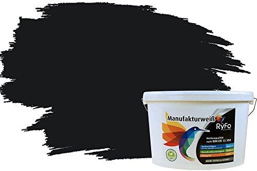 RyFo Colors Bunte Wandfarbe Manufakturweiß Schwarz 10l - weitere Grau Farbtöne und Größen erhältlich, Deckkraft Klasse 1, Nassabrieb Klasse 1
