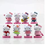 zdfgv 8 unids/Set Dibujos Animados Hello Kitty Estilos Kawaii Juguetes muñecas Anime PVC Figura de acción Juguetes para Regalos de cumpleaños para niños 6cm