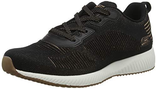 Skechers Bobs Squad - Glam League Sneaker Damen, Schwarz (Black Engineered Knit/Rose Gold Trim Blk), 39 EU