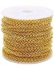 YARNOW Rvs Link Kabel Ketting Ronde Kabel Link Ketting Voor Mannen Vrouwen Sieraden Accessoires Ketting Diy Maken (Gouden, 2Mm)