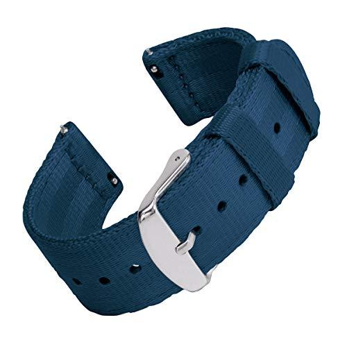Archer Watch Straps | Cintura di Sicurezza Cinturino di Nylon Ricambio Sgancio Rapido Cinghia Orologio per Donne e Uomini, Orologi e Smartwatch | Blu Navy, 22mm