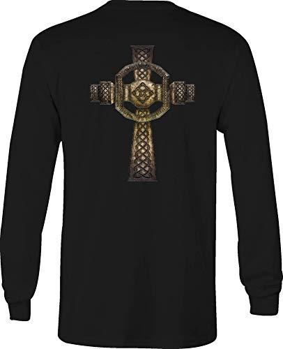 Long Sleeve T Shirt Men Celtic Cross Irish Graphic Tee - XL Black