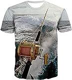 T-Shirt Femme Pas Cher T-Shirts De Canne À Pêche pour Hommes T-Shirt Accro Aux Poissons De Mer De Vagues Imprimées en 3D Drôles