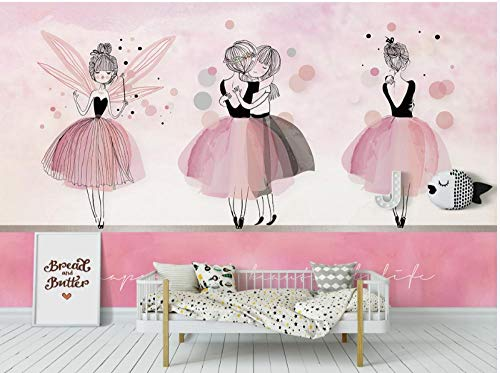 Papel Pintado No Tejido Póster Ins Rosa Bailarina Niña Niños Habitación Dormitorio Sala Decoración Mural-400 * 280 Cm