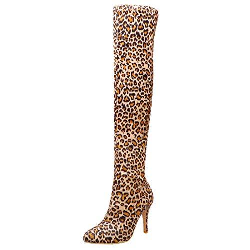 Overknee Stiefel High Heels Leoparden Boots mit 10cm Absatz Stiletto Hohe Stretch Stiefel Ohne Verschluss(Gelb,39)
