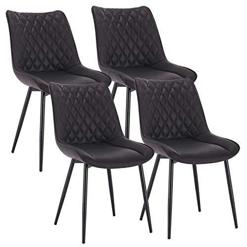 WOLTU 4 x Esszimmerstühle 4er Set Esszimmerstuhl Küchenstuhl Polsterstuhl Design Stuhl mit Rückenlehne, mit Sitzfläche aus Kunstleder, Gestell aus Metall, Antiklederoptik, Anthrazit, BH210an-4