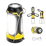 Fulighture Lámpara LED para camping, recargable por USB, con banco de energía y soporte,...