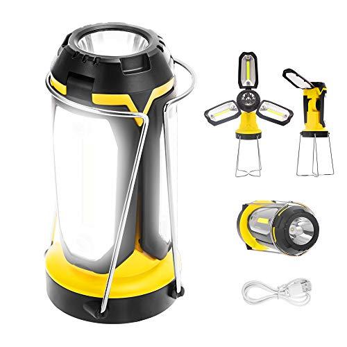 Fulighture Lámpara LED para camping, recargable por USB, con banco de energía y soporte, multifunción, portátil y plegable, 6 modos de luz para senderismo, emergencia, pesca nocturna, IP66 impermeable