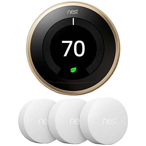 Google Nest T3032US Learning Thermostat 3rd Gen Smart Thermostat, Brass Bundle with 3-Pack Temperature Sensor