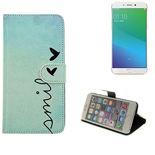K-S-Trade Schutzhülle Für Oppo R9 Plus Hülle Wallet Hülle Flip Cover Tasche Bookstyle Etui Handyhülle ''Smile'' Türkis Standfunktion Kameraschutz (1Stk)