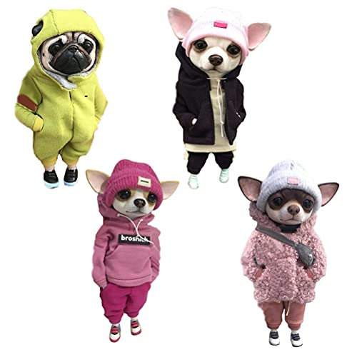 Cute Fashionable Animal Resin Dolls,cartoon Dog Resin Dolls, Hunde Statue Chihuahua with Hoodie Clothes Cartoon Little Dog, Emulation Cartoon Little Dog Figurines Decoration Doll Collection Figurines
