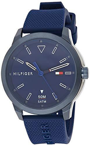 Tommy Hilfiger Herren Analog Quarz Uhr mit Silikon Armband 1791621
