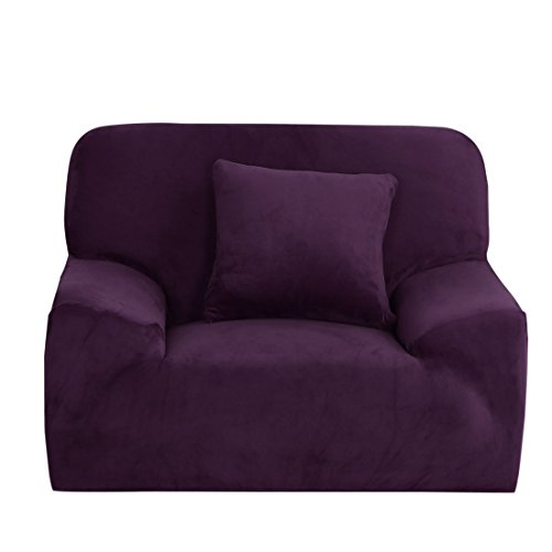 uxcell Velvet Plush Stretch Sofa Cover, Thicker Couch Slipcover for 1 Cushion, Stylish Furniture Protector Winter Covers with One Pillow Cover (Chair-1 Seater, Purple)