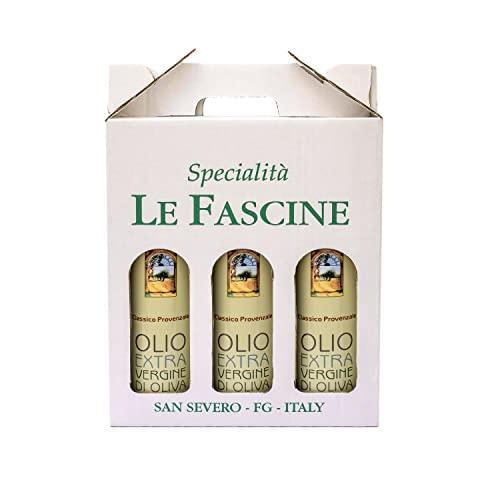 Le Fascine Olio Extravergine di Oliva 100% Italiano Confezione 3 Bottiglie da 750 ml (2,250 Litri) Prodotto Da Olive Mono Cultivar Provenzale ( Peranzana )