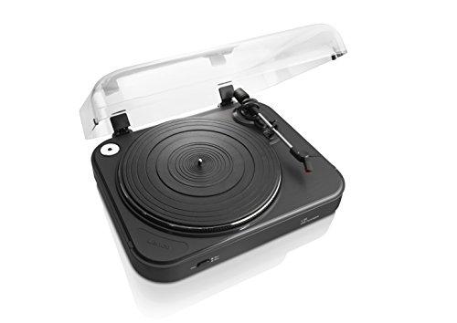 Lenco L-84 Plattenspieler mit USB-Anschluss inkl. Stereo-Vorverstärker für PC (USB-Ausgang, MMC, Riemenantrieb, abnehmbare Staubschutzhaube) schwarz