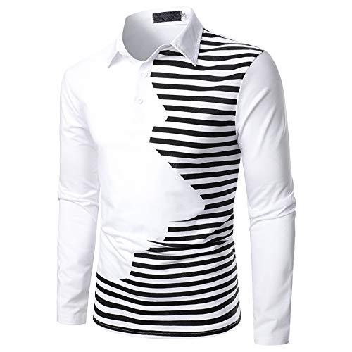 Polo Shirt Hemd Poloshirt Hemd Männer Casual Fit Slim Shirt Patchwork Stehkragen Langarm Herbst Top (L,2Weiß)