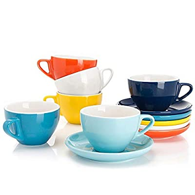 Sweese 403.002 Porcelain Cappuccino Cups with Saucers - 6 Ounce for Specialty Coffee Drinks, Latte, Cafe Mocha and Tea - Set of 6, Hot Assorted Colors