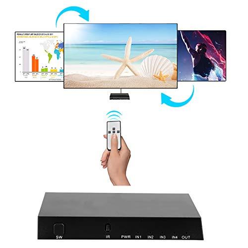 Fockety Conmutador, Caja de TV Manual automática Adaptador HDMI, portátil 4 × 1 BLU-Ray DVD HDMI HD Splitter HDMI 2.0 Switcher para instituciones educativas Home Theatre