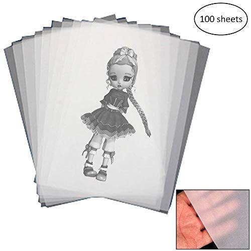 Papel de Calco Transparente WENTS 100 Hojas de Papel de Calco para Impresión, Elaboración, Decoración, Excelente Transparencia, Muy Buena Calidad A4 210x297 mm