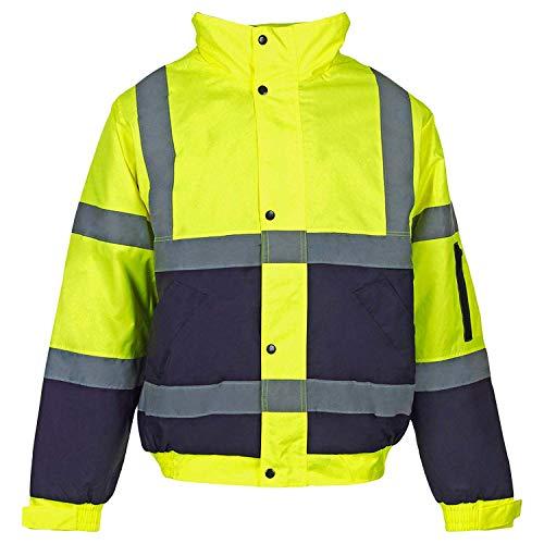 Hi Viz - Herren Männer Bomber Jacke Zweifärbig Reflektierendes Band Wasserfeste Gesteppte Sicherheits Arbeitsjacke - Gelb/Marineblau,...