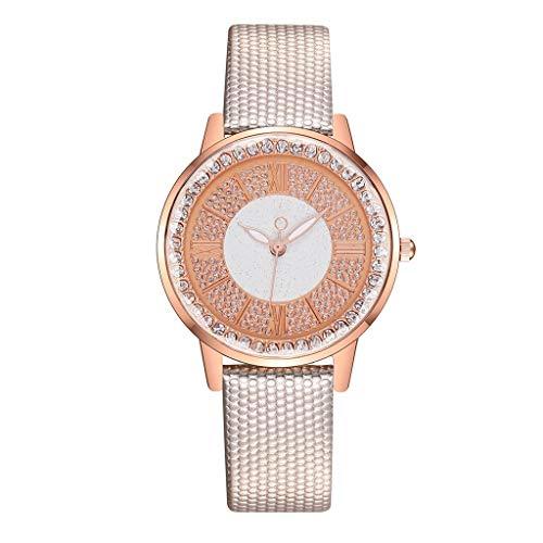 JZDH Relojes para Mujer Mujeres Relojes Vintage Bronce Denim Tela Pulsera Reloj Reloj de Pulsera de Cuarzo Relojes Decorativos Casuales para Niñas Damas (Color : Beige)