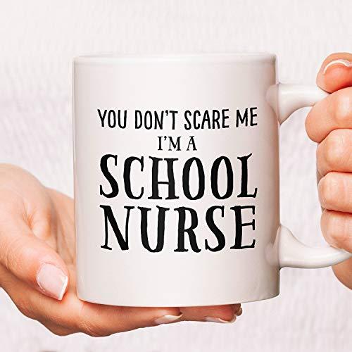 Promini Decorative Mug Nurse Coffee Mugs, Funny Nurse Mugs, Nurse Coffee Cups, Nurse Mug, Nursing Cups, You Don'T Scare Me I'M A School Nurse Coffee Mugs Gifts 15oz White Mug