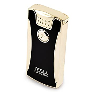 Tesla Coil Lighters USB Rechargeable Windproof Dual Arc Lighter  Gold