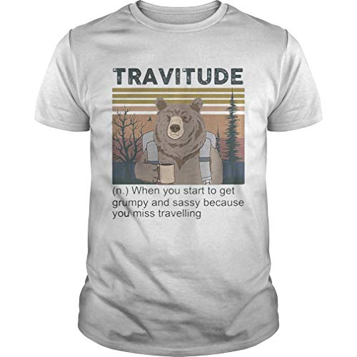 Bear Camping Trav.itude When You Start To Get Grumpy And Sassy Because You Miss Travelling Vintage R Unisex - Tshirt for Men And Women