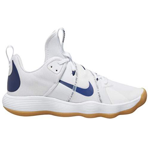 Nike React Hyperset - Scarpe da pallavolo da donna, bianco (Bianco/Blu Void-gomma marrone chiaro), 38.5 EU