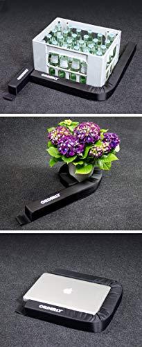 ORDERLY® Gepäckfixierung, das Original, die Erfindung für Sicherung, Ordnung im PKW Kofferraum + TÜV geprüft + Gebrauchsmuster geschützt + IMDS zertifiziert + frei von Schadstoffen, hält auf dem üblichen, dunkelgrauen NADELFILZ Kofferraum-Teppich