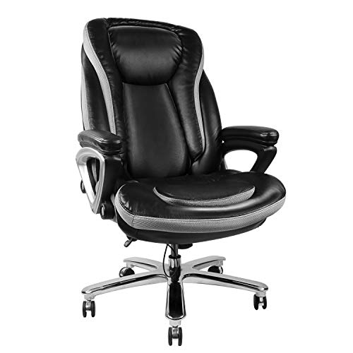 High Back Executive Thick Padding Headrest and Armrest Home Office Chair with Tilt Function, Large, Black
