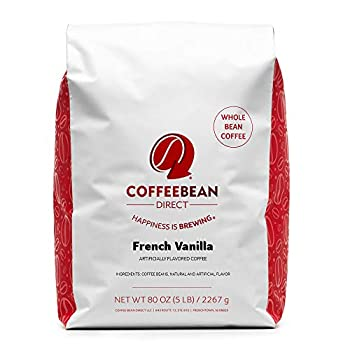Coffee Bean Direct French Vanilla Flavored Whole Bean Coffee 5-Pound Bag
