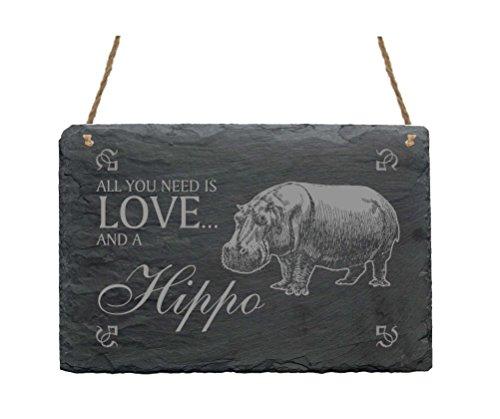 Schiefertafel « All you need is LOVE and a HIPPO » Schild mit Motiv Nilpferd Flusspferd - Dekoschild Geschenk - Afrika Safari
