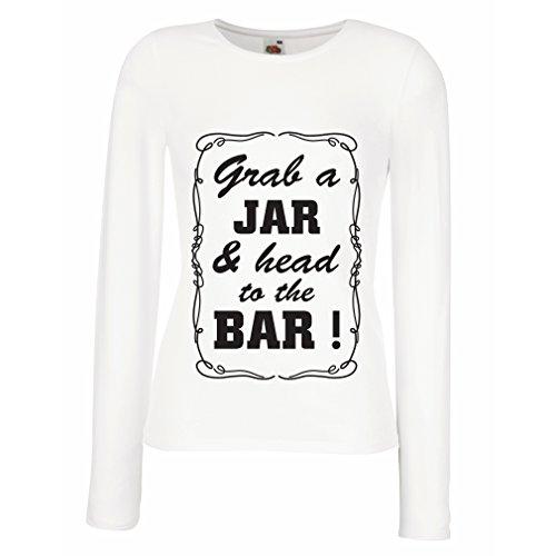 N4524M Mangas largas Camiseta de la Hembra Grab a Jar and & Head to The Bar! (XX-Large Blanco Negro)
