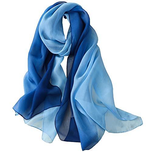 Foulard/Sciarpa 100% Seta per Donna Colore sfumato, Scialle di eleganti ed Moda 70,8 'x 27,5' Blu