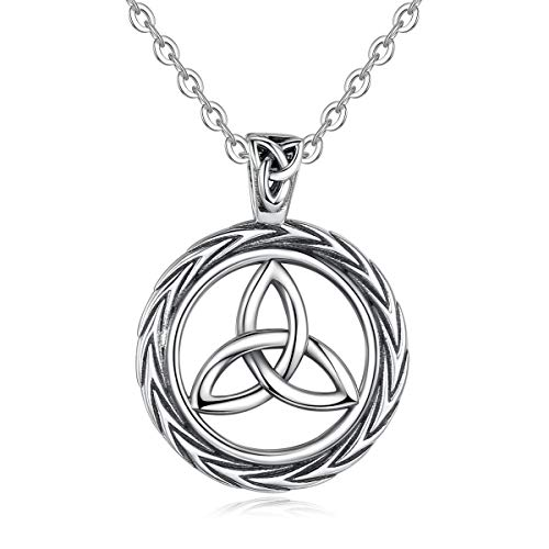 EUDORA Vintage Sterling Silver Irish Celtic Knot Triangle Necklaces Good Luck Pendant, 18' Rolo Chain