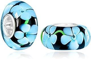 Materia Collezione Murano vetro a forma di fiore blu/nero - tubo in 925 argento Sterling - per perline bracciali & collane...