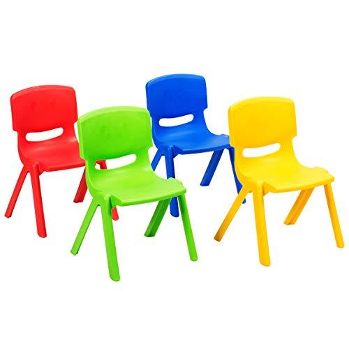 COSTWAY 4er Set Kinderstuhl, Stühlchen stapelbar, Kinderstühle bis 80kg belastbar für Spielzimmer, Kindergarten, Zuhause oder draußen