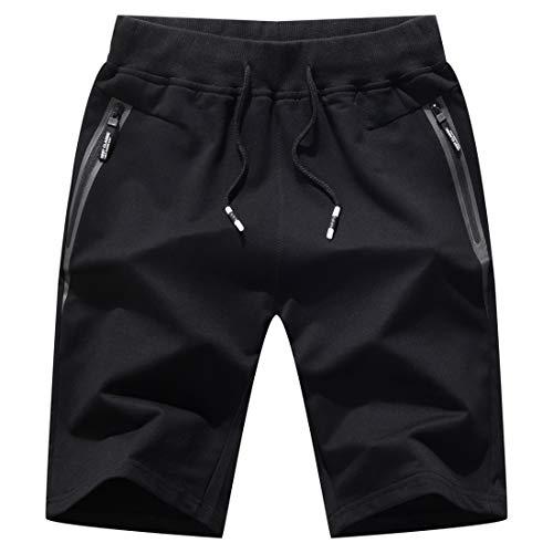 Tansozer Jogginghose Herren Kurz Shorts Herren Kurze Hosen Sport Shorts Gym Bermuda Fitness Shorts Herren Sommer(Schwarz,XL)