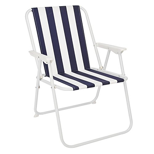FineHome Luxus Campingstuhl Faltstuhl Blau-Weiß gestreift Klappstuhl Anglerstuhl