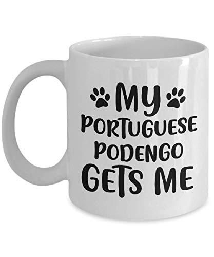 Divertida taza portuguesa de Podengo - Mi podengo portugués me recibe - Divertida idea de regalo para amantes de los perros, mejores amigos, regalo de cumpleaños único, novedad, taza de café de cerámi