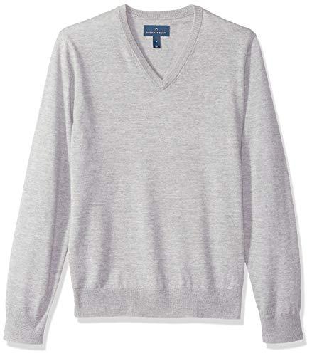 Amazon-Marke – Buttoned Down Herren-Pullover aus italienischer Merinowolle, Kaschwolle, leicht, V-Ausschnitt., Grau (Grey Heather Gre), US XL (EU XL - XXL)