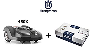 Husqvarna 450X Automower Robotic Lawn Mower Bundle w/ Husqvarna 967623603 Installation Kit - LARGE