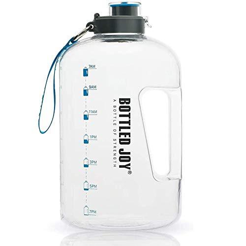 Botella De Agua Deportiva 3.78 L Water Bottle Botella Agua Sin BPA Reutilizable Botellas De Agua con Marcador De Tiempo para Athletic Bici Gimnasio Oficina