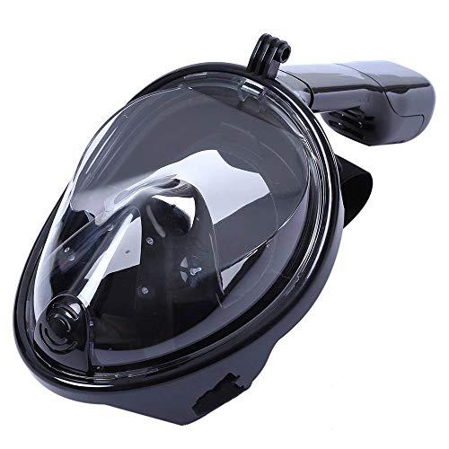 PXDM Máscara de Snorkel para Toda la Cara 180 ° Seaview fácil Respirar máscara de Buceo de Adultos, Snorkel con la mascarilla de Montaje de cámara Desmontable,Negro,L/XL