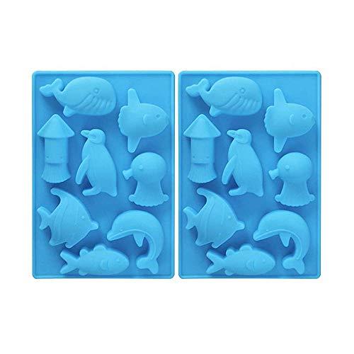 MoldFun Silikonform für Eiswürfel, Meerestiere, Wal, Fisch, Delfin, Pinguin, Tintenfisch, Silikonform zum Backen von Muffins, Kuchen, Schokolade, Gelee, Süßigkeiten, Mini-Seife, Lotion, Bar, Gips, Ton
