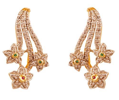 Touchstone Trabajo Floral Aspecto Real Diamante Tachonado circonita cúbica imitación rubí Esmeralda Desgaste de Fiesta Pendientes de joyería de diseño para Mujer Rojo