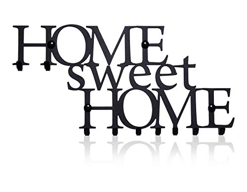 M-KeyCases Schlüsselbrett Home Sweet Home Wand-Organizer (9-Haken) Dekorativer Schlüssel-Board Hakenleiste Schlüsselleiste Vintage Decor Haus-tür Küche Fahrzeug-schlüssel Aufhänger Schwarz